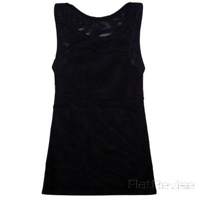 メッシュ製ナベシャツロング ブラック