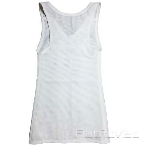 メッシュ製ナベシャツ Vネック ロング ホワイト 後