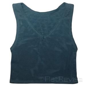 メッシュ製ナベシャツ Vネック ショート ブラック 前